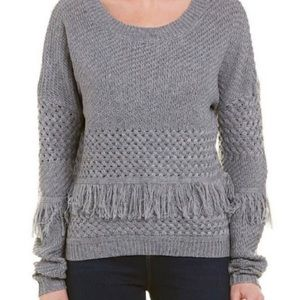 BB Dakota Revolve Sweater Gray Fringe Large NWT